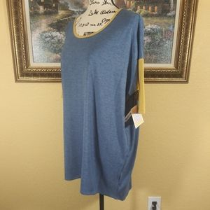 LuLaRoe Irma Blue and Gold Top Size S